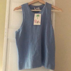 Lilly Pulitzer blue sleeveless silk shirt - NWT